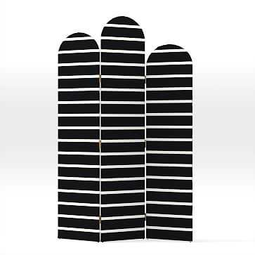 Tiered Cecilia Screen, Simple Stripe, Black Stone - West Elm