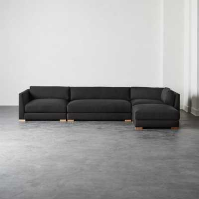 Piazza Dark Grey 4-Piece Modular Sectional Sofa - CB2