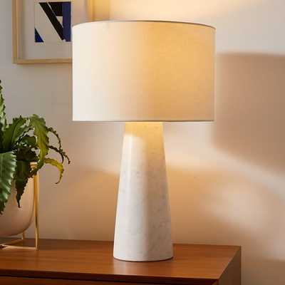 """Foundations Marble Table Lamps, 22"""", White & White Linen - West Elm"""