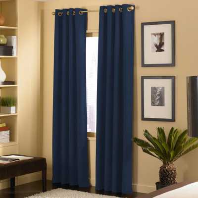 Curtainworks Cameron Microsuede Light Filtering 50 in. W x 95 in. L Grommet Curtain Panel in Navy, Blue - Home Depot