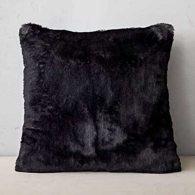"Faux Fur Chinchilla Pillow Cover, Set of 2, Black, 20""x20"" - West Elm"