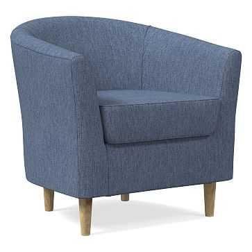 Mila Chair, Performance Coastal Linen, Midnight, Soft Wheat - West Elm