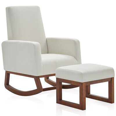 Fabric Rocking Armchair High Back  Padded Seat With Ottoman, Beige - Wayfair