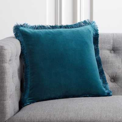 "16"" Bettie Teal Pillow with Feather-Down Insert - CB2"
