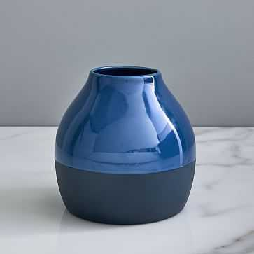 Bright Ceramicist Vase, Bud, Petrol Blue - West Elm