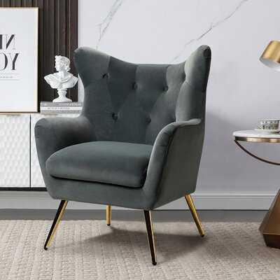 """Som 29.5"""" W Tufted Velvet Wingback Chair - Wayfair"""