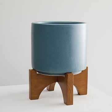 Turned Wood Tabletop Planter, Petrol Blue, Large - West Elm