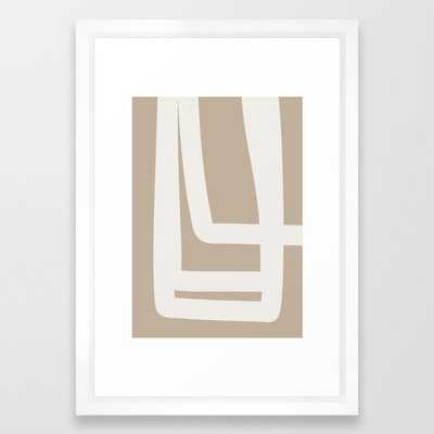 Neutral Abstract 5a Framed Art Print by The Old Art Studio - Vector White - SMALL-15x21 - Society6