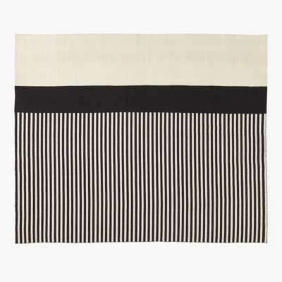 Rowan Striped Black & White Beach Outdoor Rug 8'x10' - CB2