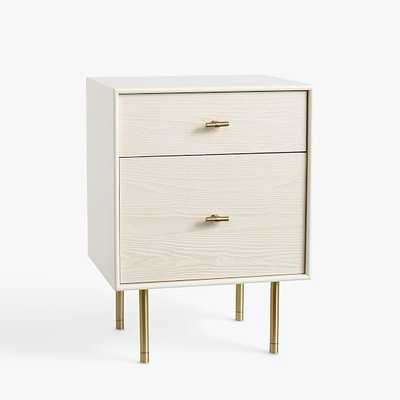 Modernist Bedside Nightstand, White and Wintered Wood - West Elm
