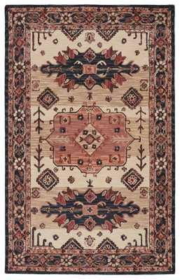 Vibe by Idina Handmade Medallion Pink/ Dark Blue Area Rug (5'X8') - Collective Weavers