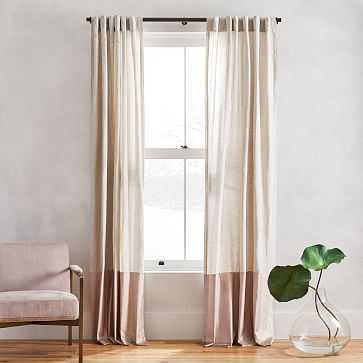 "Belgian Flax Linen + Luster Velvet Curtain, Natural + Dusty Blush 48""x108"" - West Elm"