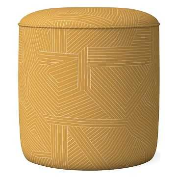 Roar + Rabbit Small Ottoman, Horseradish, Multidirectional Lines - West Elm