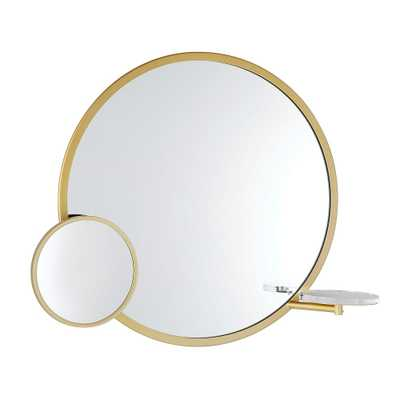"""Functional Metal Framed Round Mirror, Tuscan Gold, 28"""" - Pottery Barn Teen"""