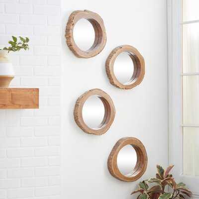 4 Piece Duckworth Teak Wood Mirror Set - Wayfair