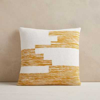 "Cotton Variegated Colorblock Pillow Cover, 18""x18"", Dark Horseradish - West Elm"
