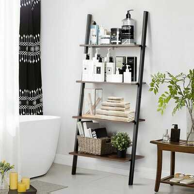 Multipurpose 4-Tier Industrial Leaning Wall Bookcase With Metal Frame - Wayfair