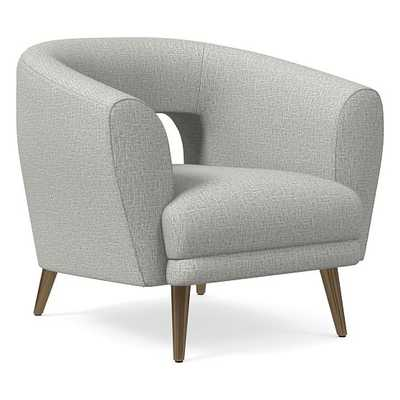 Millie Chair, Poly, Deco Weave, Feather Grey, Oil Rubbed Bronze - West Elm