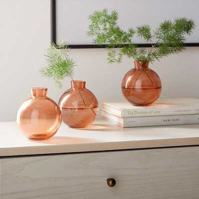 OPP Glass Round Bud Vase, Set of 3, Blush - West Elm