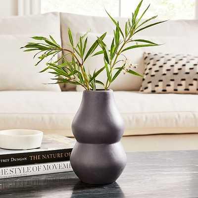 Crackle Glaze Vase, Dark Gray, Short Totem - West Elm