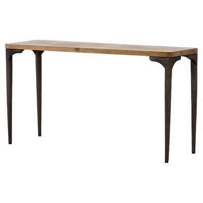 Cameron Industrial Loft Brown Oak Top Black Legs Console Table - Kathy Kuo Home