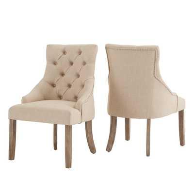 HomeSullivan Beige Linen Curved Back Tufted Dining Chair (Set of 2), Grey - Home Depot