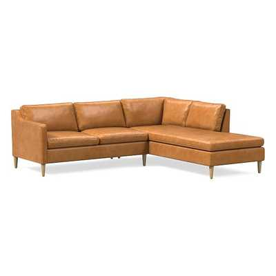 "Hamilton Sectional Set 09: LA 63"" Sofa, RA Terminal Chaise, Poly, Charme Leather, Burnt Sienna, Almond - West Elm"