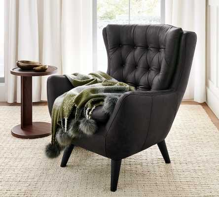 Wells Leather Armchair, Polyester Wrapped Cushions, Burnished Wolf Gray - Pottery Barn