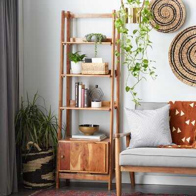 """Tall Natural Brown Wooden Leaning Ladder Shelf W/ 4 Wooden Step Compartments, 21.5""""X69"""" - Wayfair"""