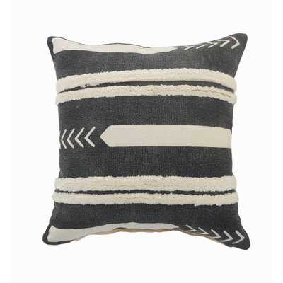 LR Home Striped Black / White Geometric Cozy Poly-fill Tufted 20 in. x 20 in. Throw Pillow - Home Depot