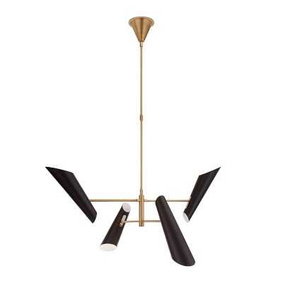 Franca Pivoting Chandelier With Black Shades, Small - Williams Sonoma