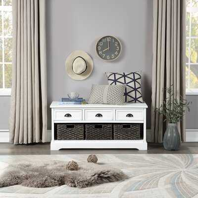 U_style Homes Collection Wood Storage Bench With 3 Drawers And 3 Woven Baskets - Wayfair