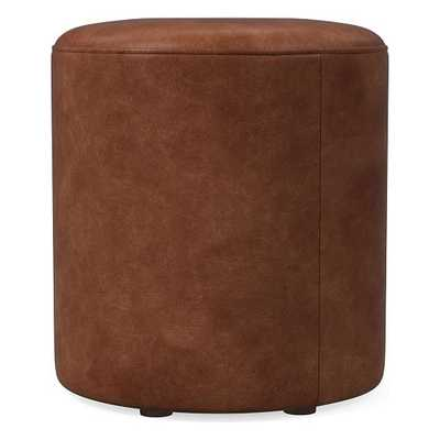 Isla Small Ottoman, Poly, Weston Leather, Molasses, Concealed Supports - West Elm