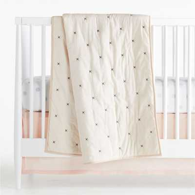 Beige Cotton Voile Crib Quilt - Crate and Barrel