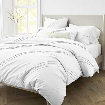 400Tc Percale Pleated Duvet, King, White - West Elm