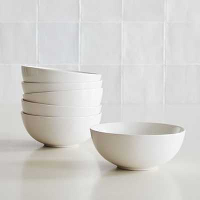 Dinnerware Stoneware, Cereal Bowl, Stoneware, White, Set of 6 - West Elm