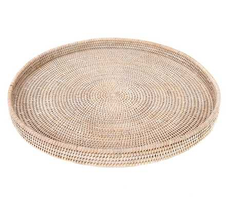 Summerville Handwoven Rattan Round Serving Tray, White Wash - Pottery Barn
