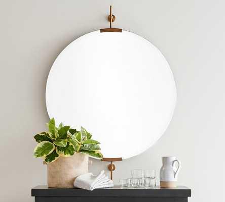 "Wexler Round Wall Mirror, Brass, 36""W x 42""H x 2""D - Pottery Barn"