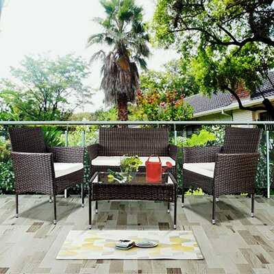 4 Pcs Outdoor Garden Rattan Patio Furniture Set Cushioned Seat Wicker Sofa (brown) - Wayfair