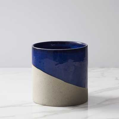 Pure Slope Planter, Concrete & Ceramic, Small, Midnight - West Elm