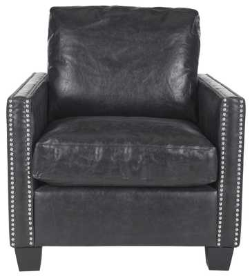 Horace Leather Club Chair - Silver Nail Heads - Antique Black/Black - Arlo Home - Arlo Home
