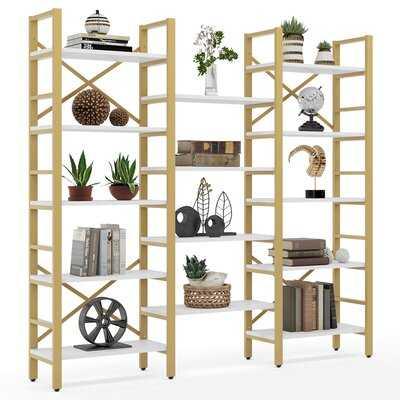 Triple Wide 5-Shelf Bookcase, Etagere Open Bookshelf Industrial Style Shelves ,Bookcases Furniture,Display,Metal Shelf - Wayfair