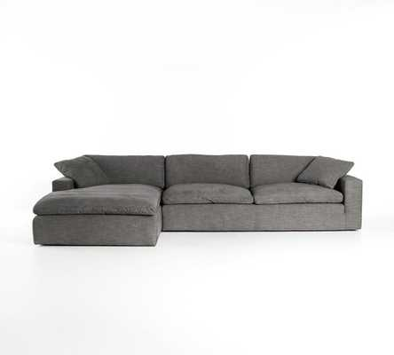 Milo Upholstered Left Arm Sofa with Chaise Sectional, Down Blend Wrapped Cushions, Chenille Basketweave Taupe - Pottery Barn