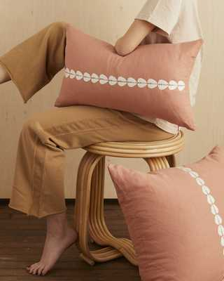 cowrie embroidered lumbar pillow in sandalwood - cover only - PillowPia