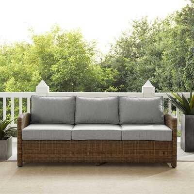 "Bradenton 80.5"" Wide Outdoor Wicker Patio Sofa with Cushions - Wayfair"