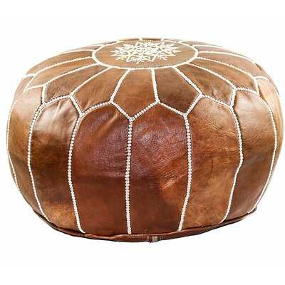 "20"" Wide Genuine Leather Round Floral Pouf Ottoman - Wayfair"
