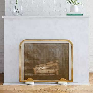Deco Marble Fireplace Screen + Base, Antique Brass + White Marble - West Elm