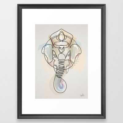 One Line Ganesh Framed Art Print by Quibe - Scoop Black - MEDIUM (Gallery)-20x26 - Society6