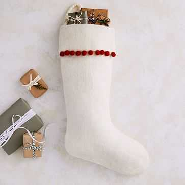 Pom Pom Stocking White + Red, Set of 2 - West Elm