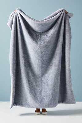 Aleksi Faux Fur Throw Blanket By Anthropologie in Blue - Anthropologie